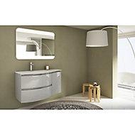 Meuble sous vasque Cooke & Lewis gris clair Vague 104 cm + complément droit + plan vasque en verre