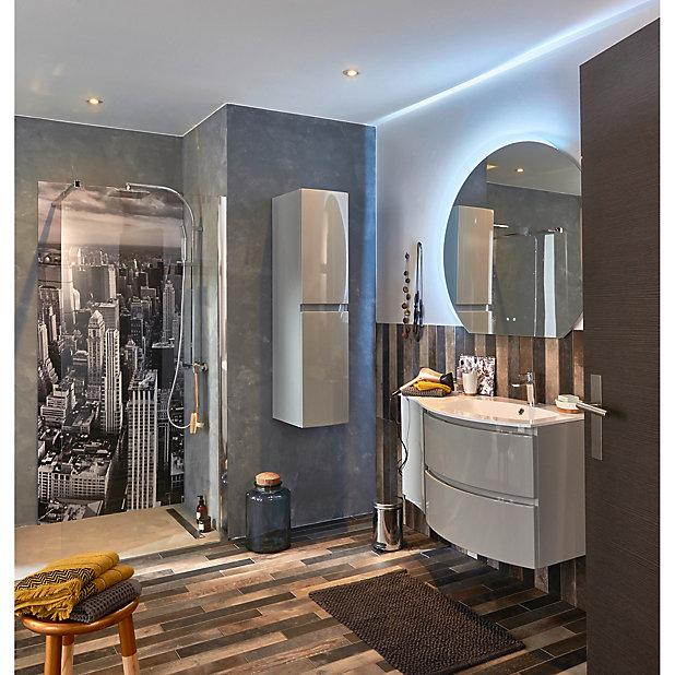 meuble sous vasque cooke lewis gris clair vague 104 cm complement gauche plan vasque en resine