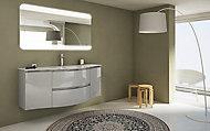 Meuble sous vasque Cooke & Lewis gris clair Vague 138 cm + complément gauche et droit + plan vasque en verre