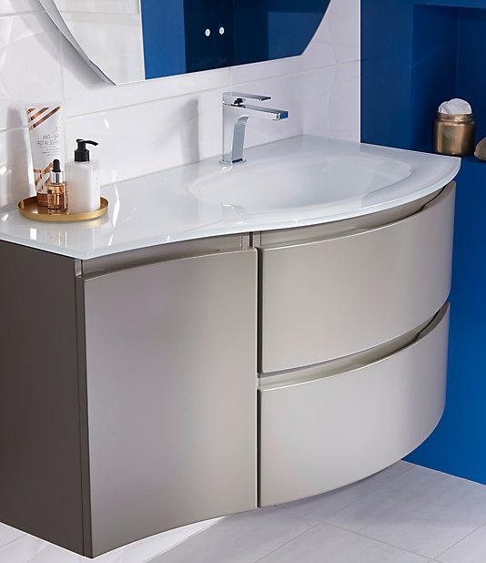 Meuble Sous Vasque Cooke Lewis Taupe Vague 104 Cm Complement Gauche Plan Vasque En Verre Castorama