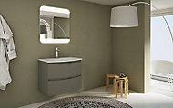 Meuble sous-vasque Cooke & Lewis taupe Vague 70 cm + plan vasque en verre