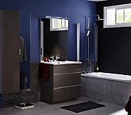 Meuble sous vasque Pamili marron 80 cm + plan vasque en résine