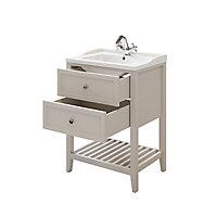 Meuble sous vasque à poser 2 tiroirs GoodHome Perma taupe 60 cm + plan vasque Lana