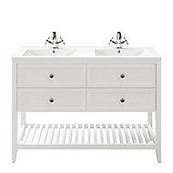 Meuble sous vasque à poser 4 tiroirs GoodHome Perma blanc 120 cm + plan double vasque Nira
