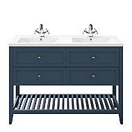 Meuble sous vasque à poser 4 tiroirs GoodHome Perma bleu 120 cm + plan double vasque Nira