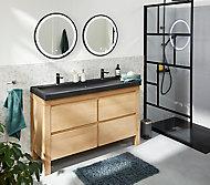 Meuble sous vasque à poser Cooke & Lewis Harmon chêne massif 140 cm + plan vasque en résine noir