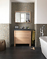 Meuble sous vasque à poser Cooke & Lewis Harmon chêne massif 90 cm + plan vasque en pierre