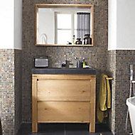 Meuble sous vasque à poser Cooke & Lewis Harmon chêne massif 90 cm + plan vasque en résine noir