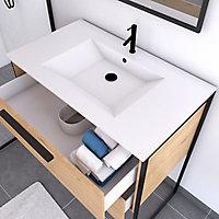 Meuble sous vasque à poser effet bois naturel Edge l. 80 + plan vasque en céramique blanche + miroir