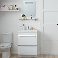 Meuble sous vasque à poser GoodHome Imandra blanc 60 cm