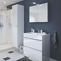 Meuble sous vasque à poser GoodHome Imandra blanc 80 cm + plan vasque Nira