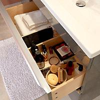 Meuble sous vasque à poser GoodHome Imandra gris taupé 80 cm + plan vasque Nira