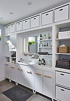 Meuble sous vasque à poser GoodHome Ladoga blanc 60 cm + plan vasque Makonda