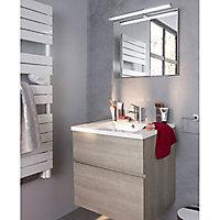 Meuble sous vasque à suspendre Cooke & Lewis Calao aspect chêne clair 60 cm + plan vasque en céramique blanche