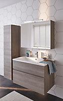 Meuble sous vasque à suspendre Cooke & Lewis Calao aspect chêne clair 90 cm + plan vasque en céramique blanche