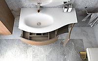 Meuble sous vasque à suspendre Cooke & Lewis Vague décor chêne naturel 104 cm + plan vasque en résine blanc + meuble complément droite