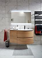 Meuble sous vasque à suspendre Cooke & Lewis Vague décor chêne naturel 104 cm + plan vasque en résine blanc + meuble complément gauche