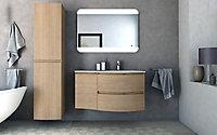 Meuble sous vasque à suspendre Cooke & Lewis Vague décor chêne naturel 104 cm + plan vasque en verre blanc + meuble complément gauche