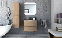 Meuble sous vasque à suspendre Cooke & Lewis Vague décor chêne naturel 69 cm + plan vasque en résine blanc