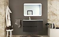Meuble sous vasque à suspendre Cooke & Lewis Vague graphite 104 cm + complément droit + plan vasque en verre