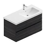 Meuble sous vasque à suspendre Cooke & Lewis Voluto aspect noyer foncé 108 cm + plan vasque en résine blanc version droite
