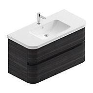 Meuble sous vasque à suspendre Cooke & Lewis Voluto aspect noyer foncé 108 cm + plan vasque en résine blanc