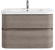 Meuble sous vasque à suspendre Cooke & Lewis Voluto bois grisé 85 cm + plan vasque en résine