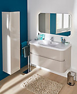Meuble sous vasque à suspendre Cooke & Lewis Voluto grège version centrale 105 cm + plan vasque en résine