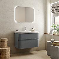 Meuble sous vasque à suspendre Cooke & Lewis Voluto gris 88 cm + plan vasque en résine blanc