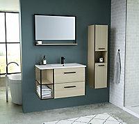 Meuble sous vasque à suspendre décor bois Indus L. 80 + Plan vasque en résine blanc + Miroir