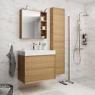 Meuble sous vasque à suspendre GoodHome Avela chêne 80 cm + plan vasque Duala