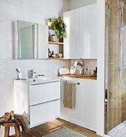 Meuble sous vasque à suspendre GoodHome Imandra blanc 60 cm + plan vasque Nira