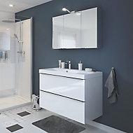Meuble sous vasque à suspendre GoodHome Imandra blanc 80 cm + plan vasque Nira