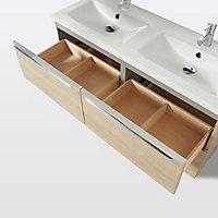 Meuble sous vasque à suspendre GoodHome Imandra bois 120 cm + plan vasque Nira