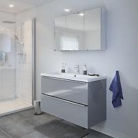 Meuble sous vasque à suspendre GoodHome Imandra gris 100 cm + plan vasque Nira