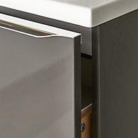 Meuble sous vasque à suspendre GoodHome Imandra gris taupé 60 cm + plan de toilette Marloes