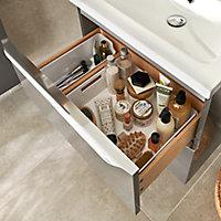 Meuble sous vasque à suspendre GoodHome Imandra gris taupé 60 cm + plan vasque Mila
