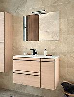 Meuble sous vasque à suspendre Lines décor chêne naturel 85 cm + plan vasque en céramique blanche + miroir éclairant