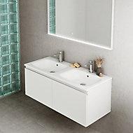 Meuble sous vasque à suspendre Pura blanc 120 cm + plan double vasque en résine blanc mat