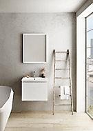 Meuble sous vasque à suspendre Pura blanc 60 cm + plan vasque en résine blanc mat