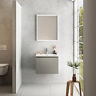 Meuble sous vasque à suspendre Pura gris 60 cm + plan vasque en résine blanc mat