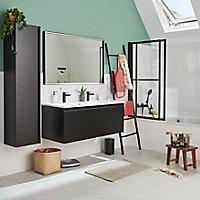 Meuble sous vasque à suspendre Pura noir 120 cm + plan vasque en résine blanc mat
