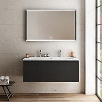 Meuble sous vasque à suspendre Pura noir 120 cm + plan vasque en résine blanc