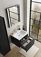 Meuble sous vasque à suspendre Pura noir 60 cm + plan vasque en résine blanc mat