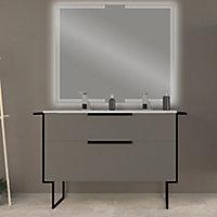 Meuble sous vasque à suspendre Urban gris mat 120 cm + plan double vasque en résine blanc