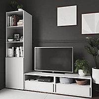 Meuble TV blanc 1 porte 2 tiroirs GoodHome Atomia H. 187,5 x L. 125 x P. 47 cm