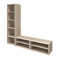 Meuble TV effet chêne 1 porte et 2 tiroirs GoodHome Atomia H. 187,5 x L. 125 x P. 47 cm