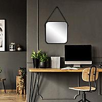 Miroir barbier en métal noir avec lanière 50x50cm