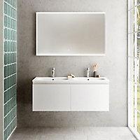 Miroir éclairant LED cadre blanc Pura H. 75 x L. 120 cm