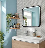 Miroir éclairant LED Lyon Chic noir 60 x 60 cm